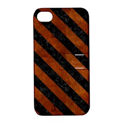 Stripes3 Black Marble & Brown Burl Wood (r) Apple Iphone 4/4s Hardshell Case With Stand by trendistuff