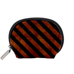 Stripes3 Black Marble & Brown Burl Wood (r) Accessory Pouch (small) by trendistuff