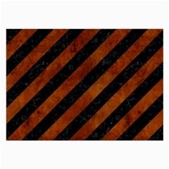 Stripes3 Black Marble & Brown Burl Wood Large Glasses Cloth by trendistuff