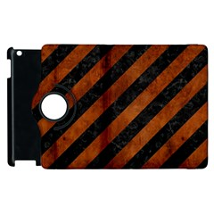 Stripes3 Black Marble & Brown Burl Wood Apple Ipad 2 Flip 360 Case by trendistuff