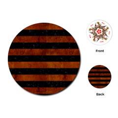 Stripes2 Black Marble & Brown Burl Wood Playing Cards (round) by trendistuff