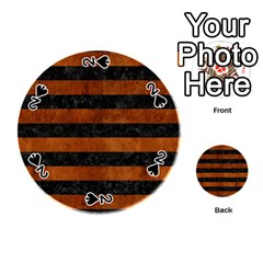 Stripes2 Black Marble & Brown Burl Wood Playing Cards 54 (round)