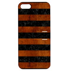 Stripes2 Black Marble & Brown Burl Wood Apple Iphone 5 Hardshell Case With Stand by trendistuff