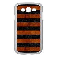 Stripes2 Black Marble & Brown Burl Wood Samsung Galaxy Grand Duos I9082 Case (white) by trendistuff