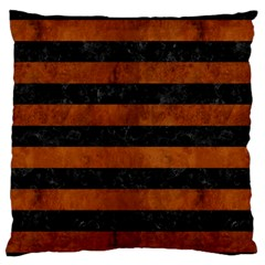 Stripes2 Black Marble & Brown Burl Wood Standard Flano Cushion Case (two Sides) by trendistuff