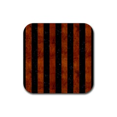 Stripes1 Black Marble & Brown Burl Wood Rubber Square Coaster (4 Pack) by trendistuff
