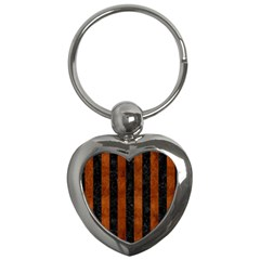 Stripes1 Black Marble & Brown Burl Wood Key Chain (heart) by trendistuff
