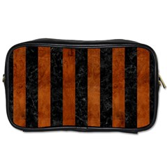 Stripes1 Black Marble & Brown Burl Wood Toiletries Bag (two Sides) by trendistuff