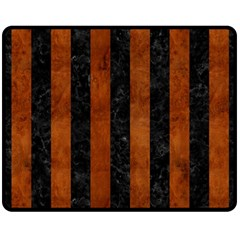 Stripes1 Black Marble & Brown Burl Wood Double Sided Fleece Blanket (medium) by trendistuff