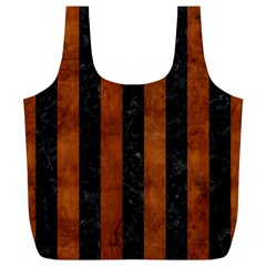 Stripes1 Black Marble & Brown Burl Wood Full Print Recycle Bag (xl) by trendistuff