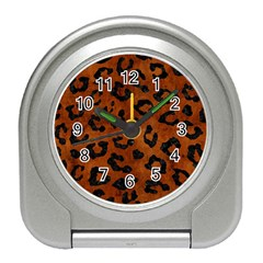 Skin5 Black Marble & Brown Burl Wood Travel Alarm Clock by trendistuff