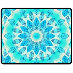Blue Ice Goddess, Abstract Crystals Of Love Double Sided Fleece Blanket (medium)