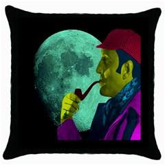 Sherlock Holmes Throw Pillow Case (black) by icarusismartdesigns