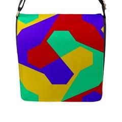 Colorful Misc Shapes                                                  flap Closure Messenger Bag (l) by LalyLauraFLM