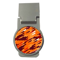Brown Orange Shapes                                                    			money Clip (round) by LalyLauraFLM