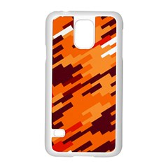Brown Orange Shapes                                                    			samsung Galaxy S5 Case (white) by LalyLauraFLM