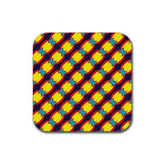 Blue X Chains                                                     			rubber Square Coaster (4 Pack by LalyLauraFLM