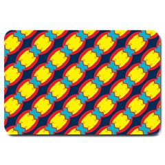 Blue X Chains                                                     large Doormat by LalyLauraFLM
