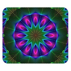 Star Of Leaves, Abstract Magenta Green Forest Double Sided Flano Blanket (small)  by DianeClancy