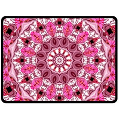 Twirling Pink, Abstract Candy Lace Jewels Mandala  Fleece Blanket (large)  by DianeClancy