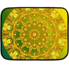 Yellow Green Abstract Wheel Of Fire Fleece Blanket (mini) by DianeClancy