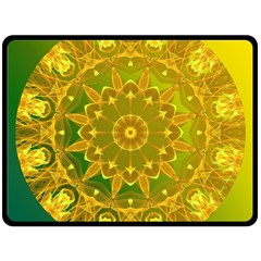 Yellow Green Abstract Wheel Of Fire Fleece Blanket (large)  by DianeClancy