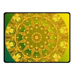 Yellow Green Abstract Wheel Of Fire Double Sided Fleece Blanket (small)  by DianeClancy