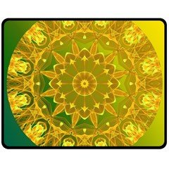 Yellow Green Abstract Wheel Of Fire Double Sided Fleece Blanket (medium)  by DianeClancy