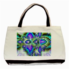 Abstract Peacock Celebration, Golden Violet Teal Basic Tote Bag by DianeClancy