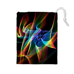 Aurora Ribbons, Abstract Rainbow Veils  Drawstring Pouches (large)  by DianeClancy