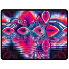 Cosmic Heart Of Fire, Abstract Crystal Palace Double Sided Fleece Blanket (large)  by DianeClancy