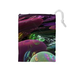 Creation Of The Rainbow Galaxy, Abstract Drawstring Pouches (medium)  by DianeClancy