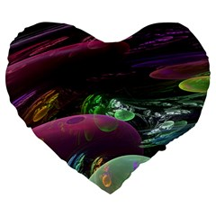 Creation Of The Rainbow Galaxy, Abstract Large 19  Premium Flano Heart Shape Cushions by DianeClancy