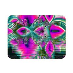 Crystal Flower Garden, Abstract Teal Violet Double Sided Flano Blanket (mini)  by DianeClancy