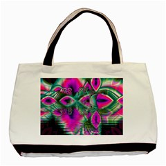 Crystal Flower Garden, Abstract Teal Violet Basic Tote Bag by DianeClancy