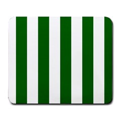 Vertical Stripes - White and Dark Green Large Mousepad by mirbella