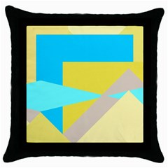 Blue Yellow Shapes                                                        			throw Pillow Case (black) by LalyLauraFLM