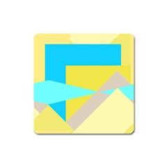 Blue Yellow Shapes                                                        			magnet (square) by LalyLauraFLM