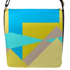 Blue Yellow Shapes                                                        			flap Closure Messenger Bag (s) by LalyLauraFLM