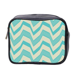 Blue Waves Pattern                                                         Mini Toiletries Bag (two Sides) by LalyLauraFLM