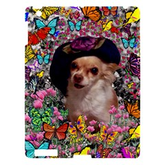 Chi Chi In Butterflies, Chihuahua Dog In Cute Hat Apple Ipad 3/4 Hardshell Case by DianeClancy