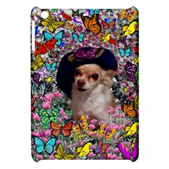 Chi Chi In Butterflies, Chihuahua Dog In Cute Hat Apple Ipad Mini Hardshell Case by DianeClancy