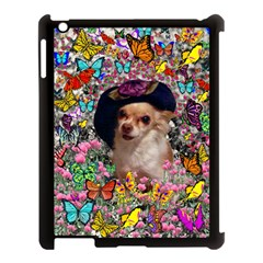 Chi Chi In Butterflies, Chihuahua Dog In Cute Hat Apple Ipad 3/4 Case (black) by DianeClancy