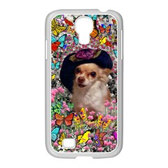 Chi Chi In Butterflies, Chihuahua Dog In Cute Hat Samsung Galaxy S4 I9500/ I9505 Case (white) by DianeClancy