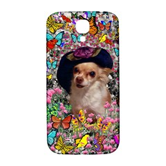 Chi Chi In Butterflies, Chihuahua Dog In Cute Hat Samsung Galaxy S4 I9500/i9505  Hardshell Back Case by DianeClancy