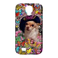 Chi Chi In Butterflies, Chihuahua Dog In Cute Hat Samsung Galaxy S4 Classic Hardshell Case (pc+silicone) by DianeClancy