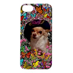Chi Chi In Butterflies, Chihuahua Dog In Cute Hat Apple Iphone 5s/ Se Hardshell Case by DianeClancy