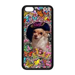 Chi Chi In Butterflies, Chihuahua Dog In Cute Hat Apple Iphone 5c Seamless Case (black) by DianeClancy