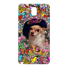 Chi Chi In Butterflies, Chihuahua Dog In Cute Hat Samsung Galaxy Note 3 N9005 Hardshell Back Case by DianeClancy