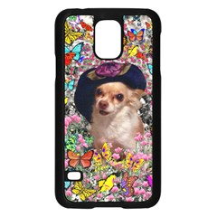 Chi Chi In Butterflies, Chihuahua Dog In Cute Hat Samsung Galaxy S5 Case (black) by DianeClancy